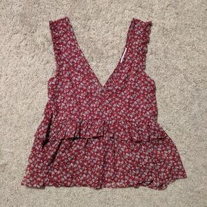 Floral tank top v neck American eagle small red